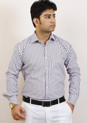 Siera Men's Striped Formal Purple Shirt