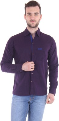 Routeen Men's Solid Casual Blue, Purple Shirt