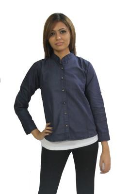 Beautic Women's Solid Casual Denim Dark Blue Shirt