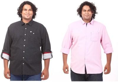 CIROCO Men's Polka Print Casual Black, Pink Shirt