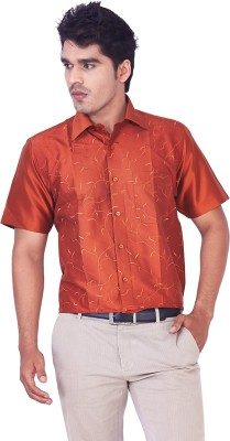 Mark Anderson Men's Printed Casual Orange Shirt