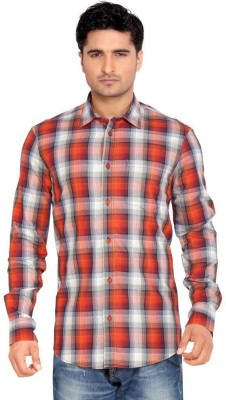Thinc Men's Harringbone Casual Red Shirt