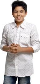 Kick Start Boys Printed Casual White Shirt