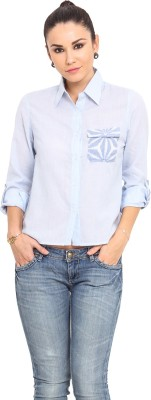MSMB Women's Solid Casual Light Blue Shirt