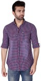 Mercury Men's Checkered Casual Purple Sh...