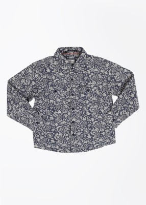 Pepe Jeans Boy's Printed Casual White, Blue Shirt