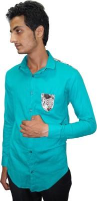 Ali Darzi Men's Solid Casual Light Blue Shirt