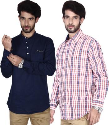 Brecken Paul Men's Checkered Casual Blue, Beige, Red Shirt