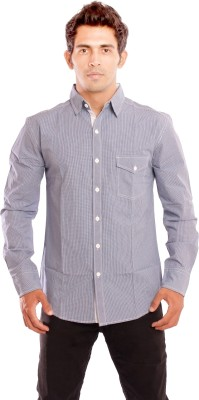 Nick & Jess Men's Solid Casual Blue Shirt