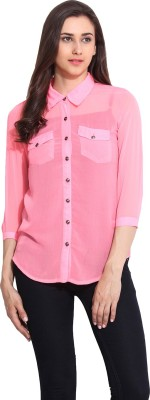 Mystree Women's Solid Casual Pink Shirt