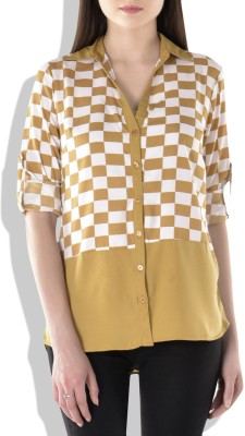 London Off Women's Checkered Casual Beige Shirt