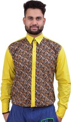 Home Shop Gift Men's Printed Casual Yellow Shirt