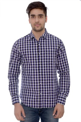 Parv Collections Men's Checkered Formal Blue Shirt