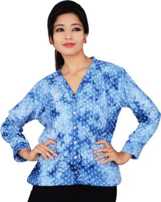 didara Women's Printed Casual Blue Shirt