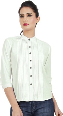Dhrohar Women's Solid Casual White Shirt
