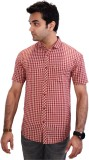 Equipoise Men's Checkered Casual Red Shi...