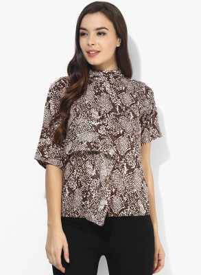 Popnetic Women's Printed Casual Brown Shirt