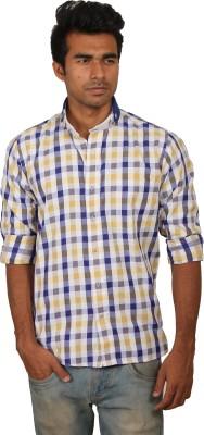 Brumax Men's Checkered Casual Yellow, Blue, Beige, White Shirt