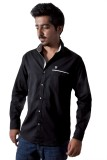 Tenor Men's Solid Casual Black Shirt