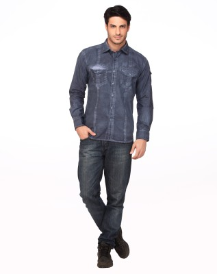 Fire & Ice Men's Solid Casual Blue Shirt