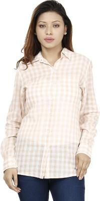 Miway Women's Checkered Casual White, Beige Shirt