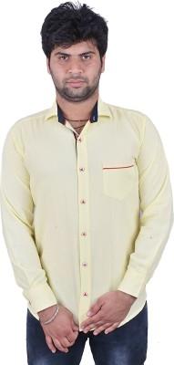 Royal Crown Men's Solid Casual Yellow Shirt