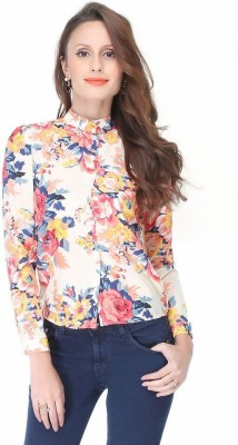 Kimyra Women's Floral Print Casual White Shirt
