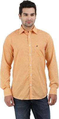 Haberfield Men's Checkered Casual Orange Shirt