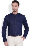 I-Voc Men's Solid Casual Linen Dark Blue...