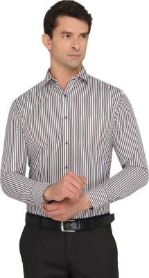 Donear NXG Men's Striped Formal Black Shirt