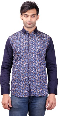 Clubstone Men's Floral Print Casual Blue Shirt