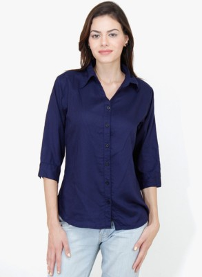 Indicot Women's Printed Casual Dark Blue Shirt