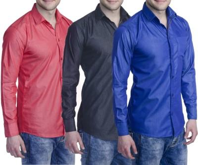 Aligatorr Men's Solid Formal Black, Blue, Red Shirt