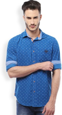 Mike and Smith Men's Printed Casual Blue Shirt