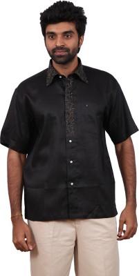 Karlsburg Men's Embroidered Casual Black, Brown Shirt