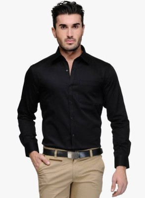 Shine Shirts Men's Solid Formal Black Shirt