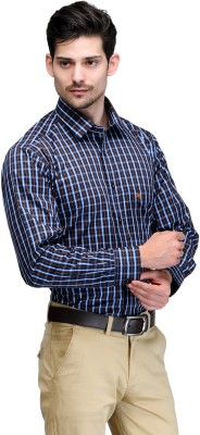 Club Morocco Men's Checkered Formal Blue Shirt
