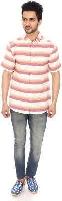 Kalaa Men's Striped Casual Red, White Shirt