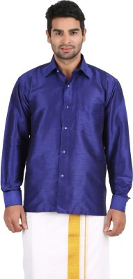 Officers Choice Men's Solid Casual Dark Blue Shirt