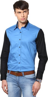 See Designs Men,s Solid Casual Light Blue Shirt