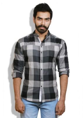 Goswhit Men's Checkered Casual Black, Grey, White Shirt