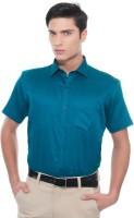 Helg Formal Shirts (Men's) - Helg Men's Solid Formal Linen Blue Shirt
