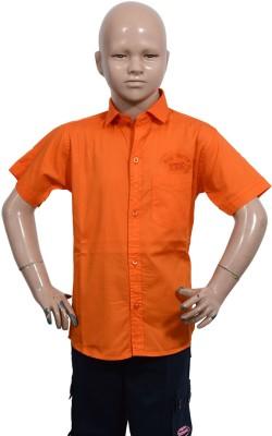 Puppet Nx Boy's Solid Casual Orange Shirt