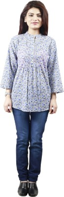 GUDS Casual 3/4 Sleeve Floral Print Women's Blue Top