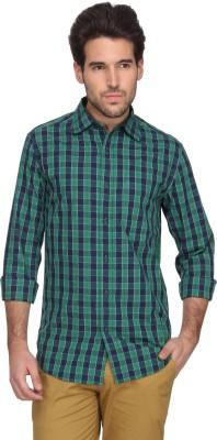 Denimlab Men's Checkered Casual Green Shirt
