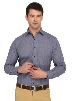 Donear NXG Men's Printed Formal Dark Blue Shirt