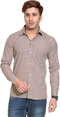 Stylistry Men's Checkered Casual Yellow, Blue Shirt