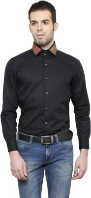 RICHARD COLE Men's Solid Formal Black Shirt