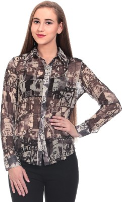 Wild Hawk Women's Printed Casual Beige Shirt