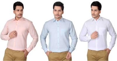Brinley Men,s Solid Formal Pink, Light Blue, White Shirt